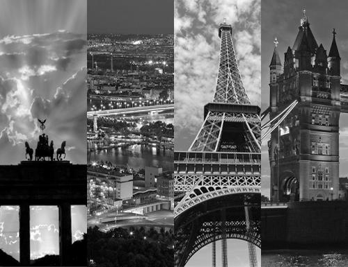 Eine Collage weltweiter Wahrzeichen
